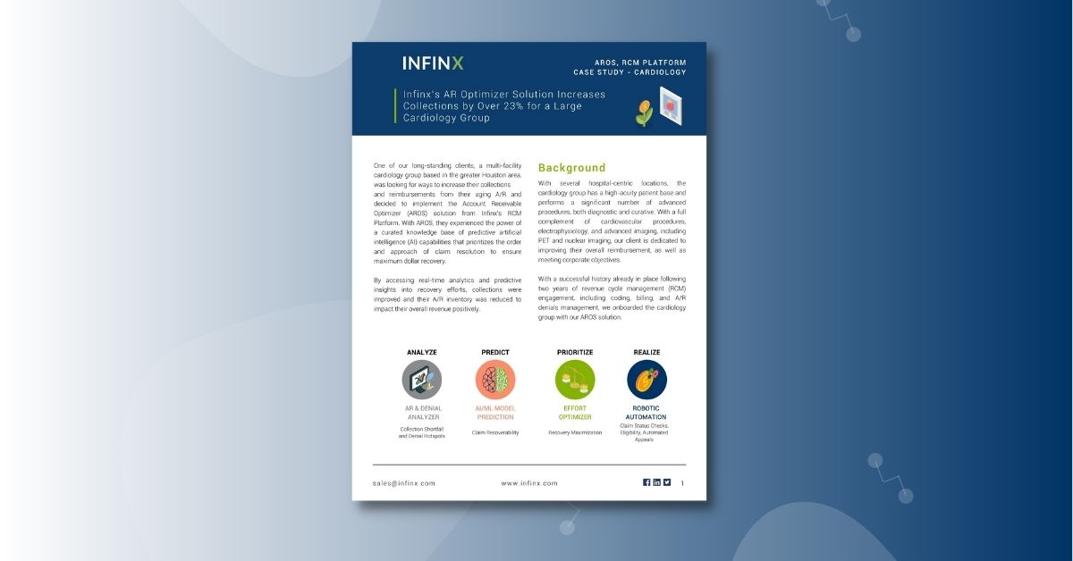 Infinx - Case Study - Infinx's A:R Optimizer Solution Increases Collections by Over 23% for a Large Cardiology Group - Oct 2021 1200x628