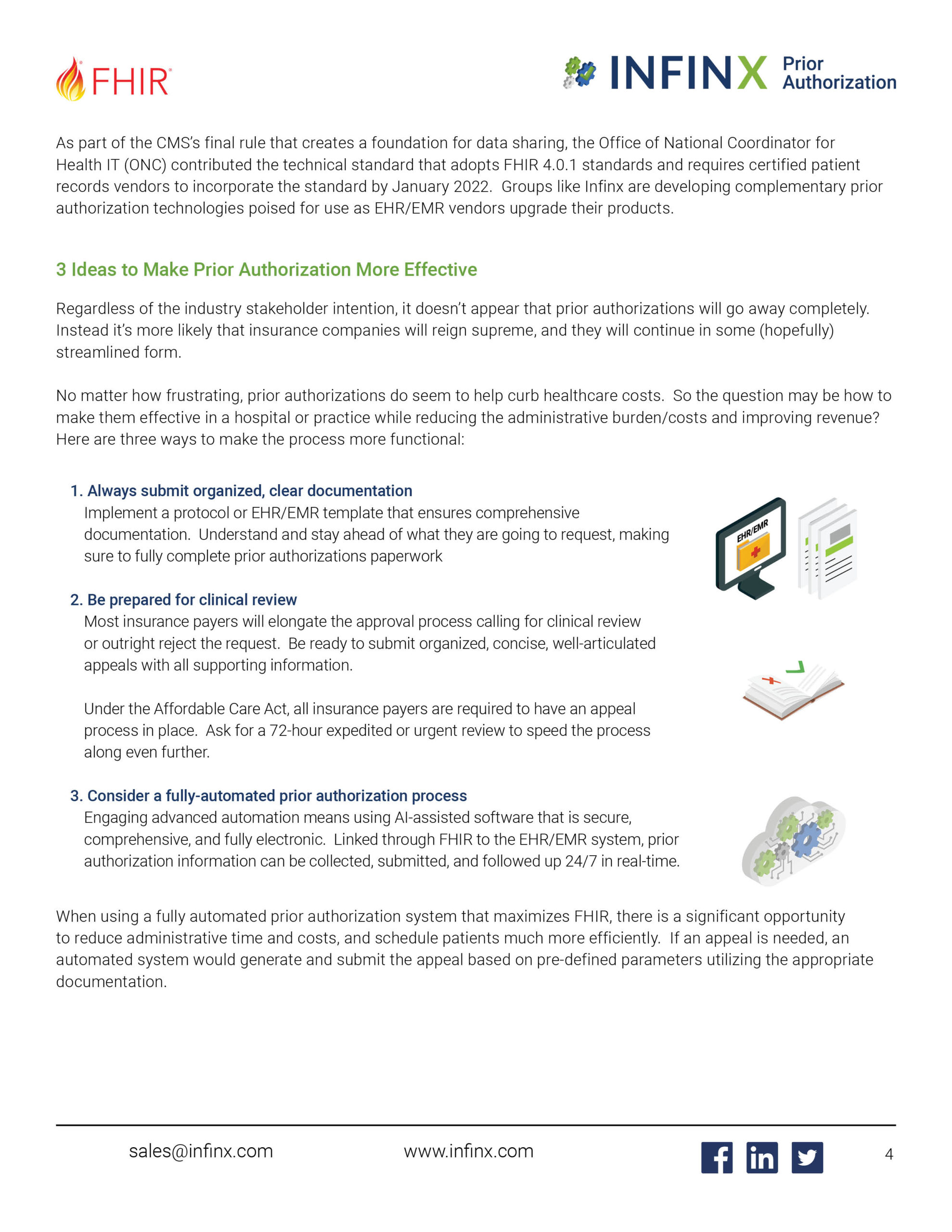 Infinx - White Paper - How Fast Healthcare Interoperability Resources (FHIR) Positively Impact Automated Prior Authorizations July202 1 4